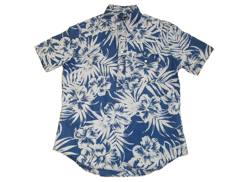Polo Elongated Blue Lauren Placket Shirt Mens Linen Ralph TPkZiuOX