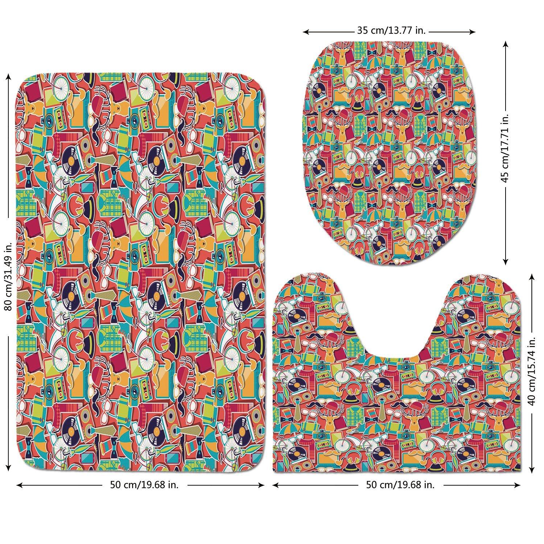 3 Piece Bathroom Mat Set,Indie,Colorful-Hipster-Design-Elements-Old-Fashioned-Culture-Technology-Urban-Theme-Funky-Decorative,Multicolor.jpg,Bath Mat,Bathroom Carpet Rug,Non-Slip