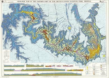 Map Of Eastern Arizona.Amazon Com Historic Map Grand Canyon National Park Arizona 1980