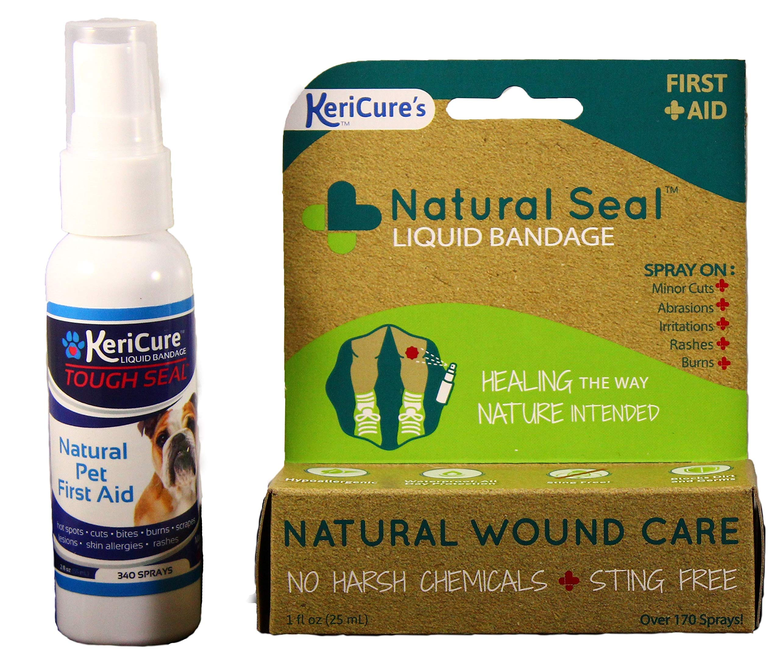 Natural Seal and Tough Seal Spray on Liquid Bandage Products for People and Pets Combo Pack, 2 Pack, One for you and one for your pet, Combine and Save, Sting Free Spray on Bandage, No Harsh Chemicals by KeriCure