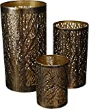 Metal Hurricane Home Decor, 12 by 9 by 5-Inch, Bronze Brass with Black, Set of 3