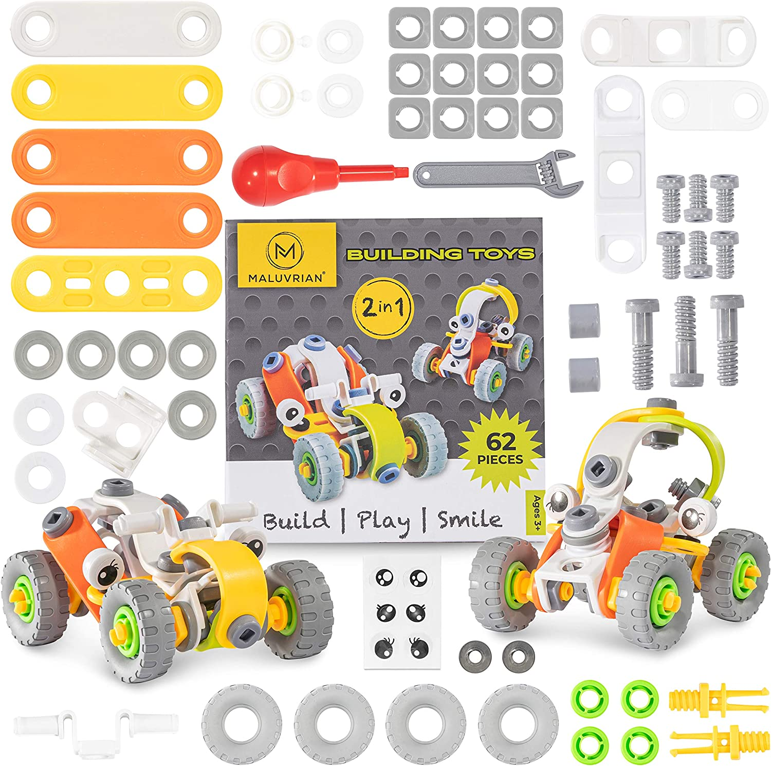 MALUVRIAN Educational Toys STEM Toys Building Toys Engineering Toys Construction Toys for Boys /& Girls Toy Erector Set Kids Build Kits Set for Ages 3 4 5 6 7 8 9 10 Year Old Boys /& Girls 62-Piece