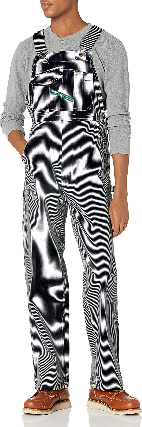 Men's Vintage Workwear Inspired Clothing Key Apparel Mens Hickory Stripe High Back Bib Overall  AT vintagedancer.com