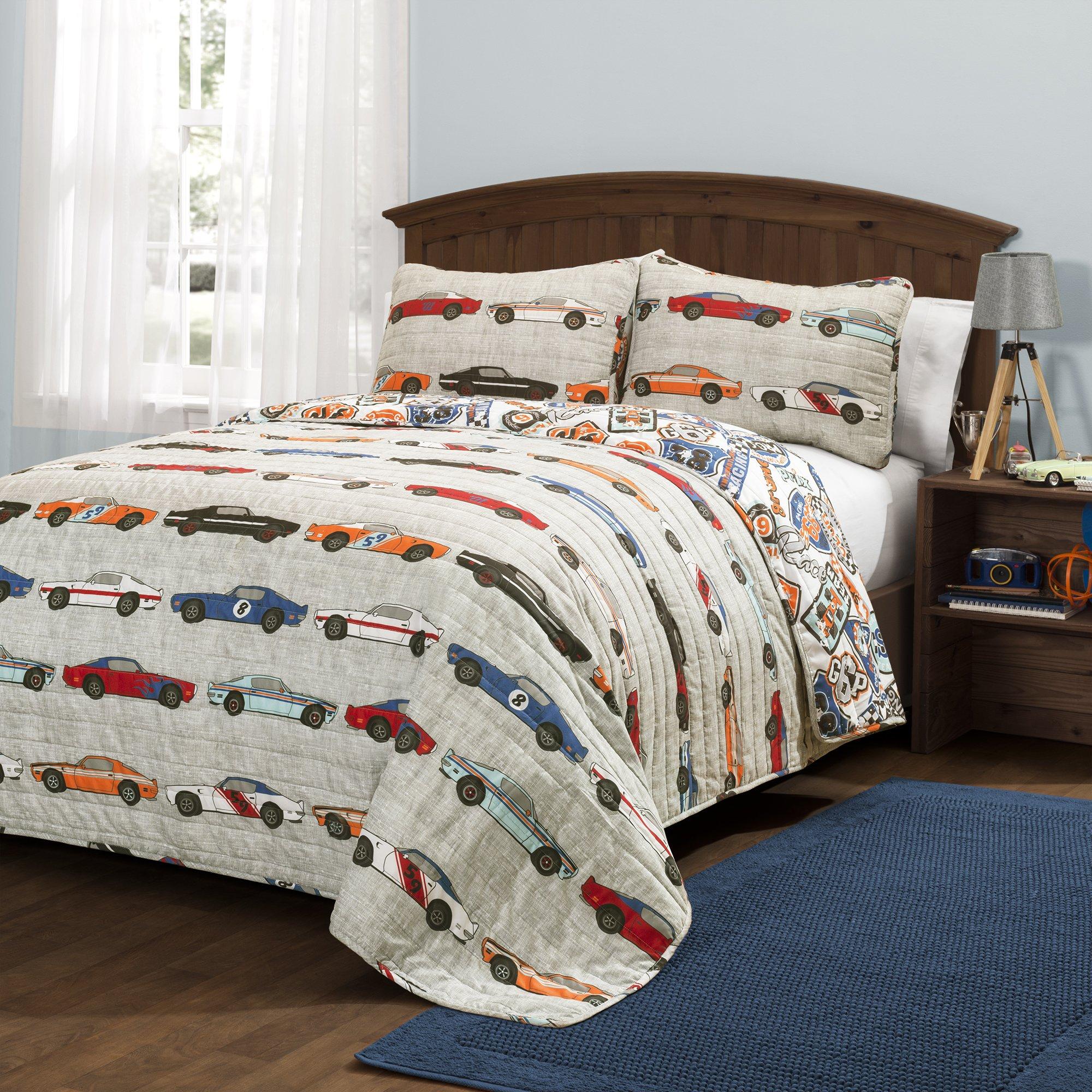 Lush Décor Race Cars 2 Piece Reversible Quilt Kids Bedding Set, Twin, Blue/Orange by Lush Decor