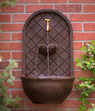 the milano outdoor wall fountain weathered bronze finish water feature for garden