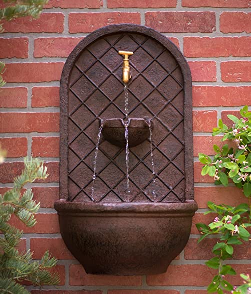The Milano   Outdoor Wall Fountain   Weathered Bronze Finish   Water Feature  For Garden,