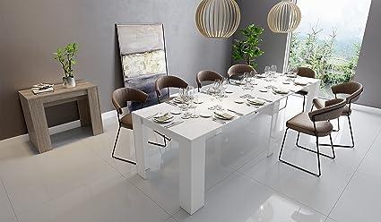 InHouse srls Tavolo Moderno in Legno, Allungabile, Bianco Laccato,50 ...