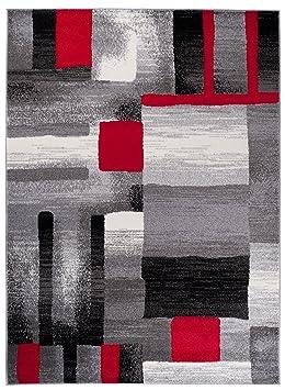 Tapis De Salon Moderne Couleur Gris Noir Rouge Motif Geometrique