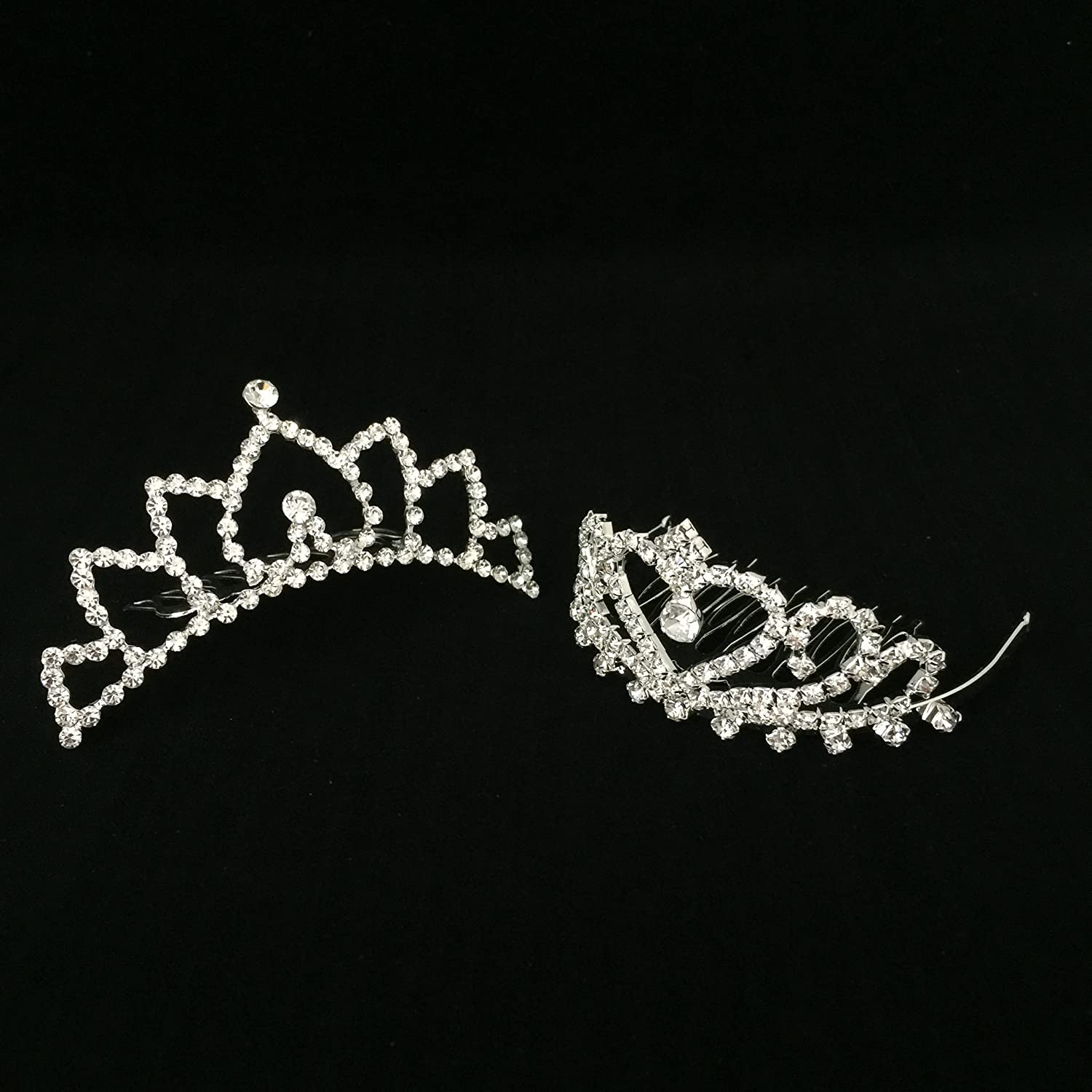 Butterfly Craze Girls Princess Tiara Crown with Comb For Costume Accessories 2 pcs Heart To Heart
