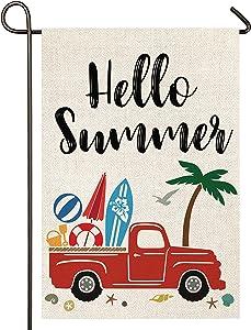 Atenia Hello Summer Truck Burlap Garden Flag, Double Sided Garden Outdoor Yard Flags for Summer Decor (Garden Size - 12.5X18)