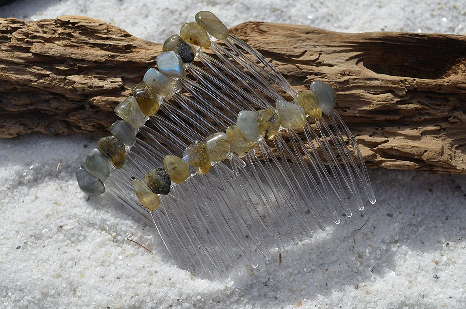 Labradorite Stones on a Hair Combs (Set of 2)