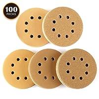 Disque de Ponçage 100pcs Tacklife Disques Abrasifs Velcro 40/80/120/150/220 Grain Taille de 125mm Idéal pour Poncer/Polir/Dérouiller   ASD04C