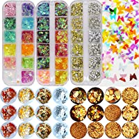 Nail Glitter Sequins Kit, Iridescent Butterfly Round Shape Nail Art Sequins Gold Holographic Glitter Powder Foils Flakes…