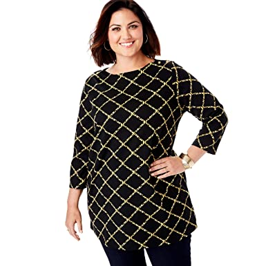 b16f9c04e43 Jessica London Women's Plus Size Refined Boatneck Tunic with Goldtone  Buttons - Black Animal Pane,