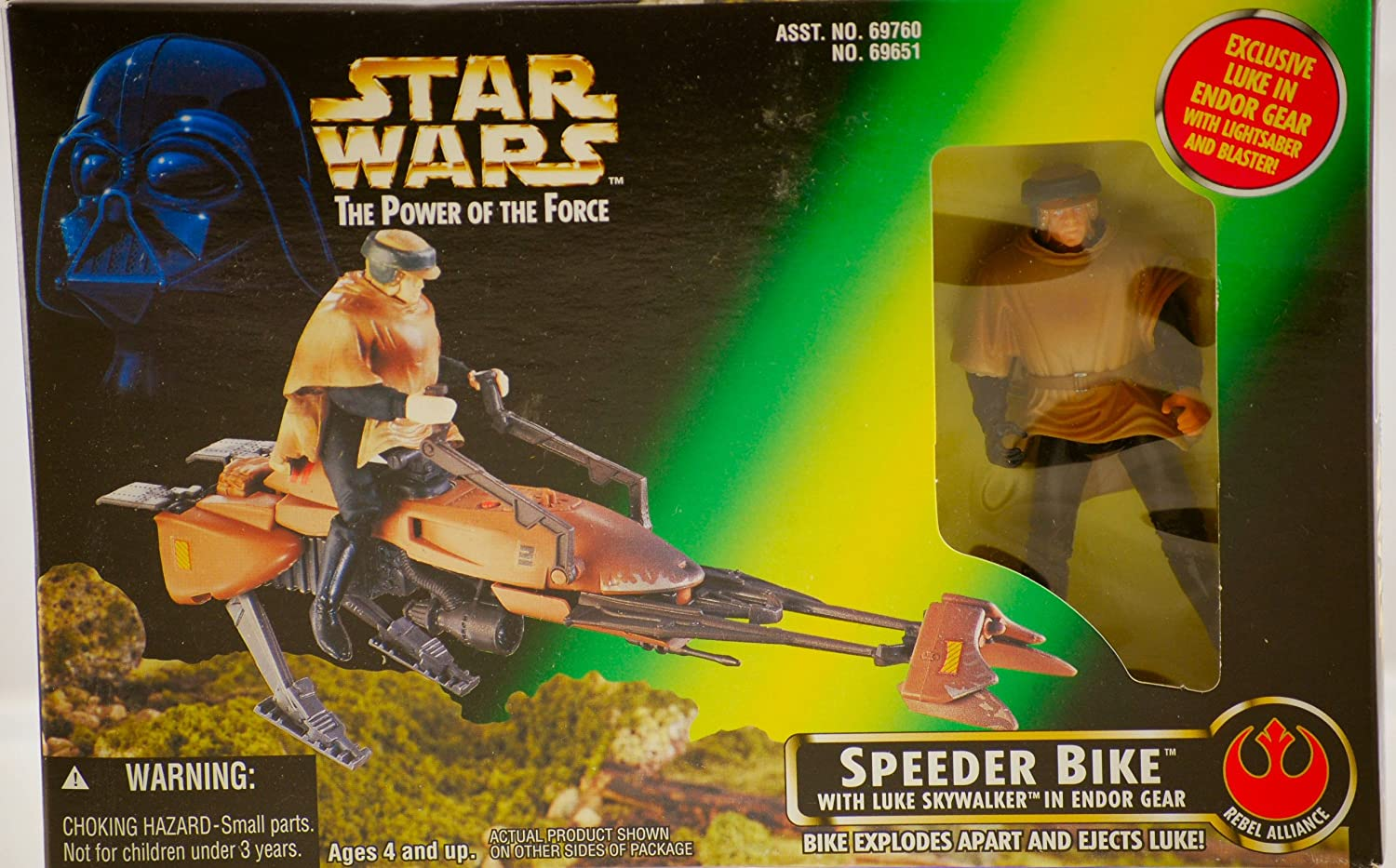 Star Wars - The Power Of The Force (POTF) - Luke Action Figure in Endor Gear with Speeder Bike -Hasbro / Kenner