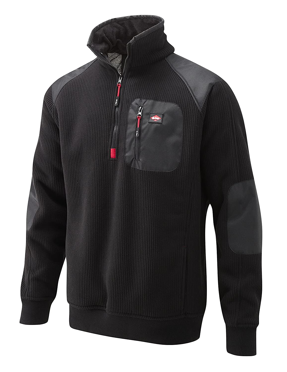 Lee Cooper New Mens Bonded Sherpa Lined Warm Stylish Fleece Half Zip Jacket with Zipped Chest Pockets Functional Durable Top Anti-Pill Work Leisure Workwear LCJKT422 Black S,M,L,XL,2XL,3XL