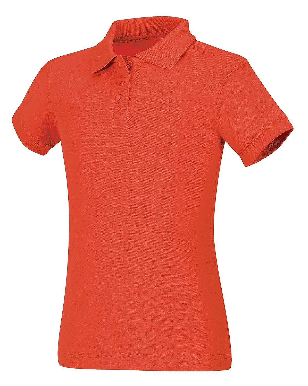 Medium CLASSROOM Big Girls Interlock Cap Sleeve Polo Orange