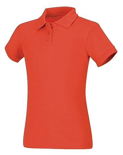 367eeb68 Amazon.com: CLASSROOM Big Girls' Interlock Cap Sleeve Polo, Orange, Small:  School Uniform Polo Shirts: Clothing