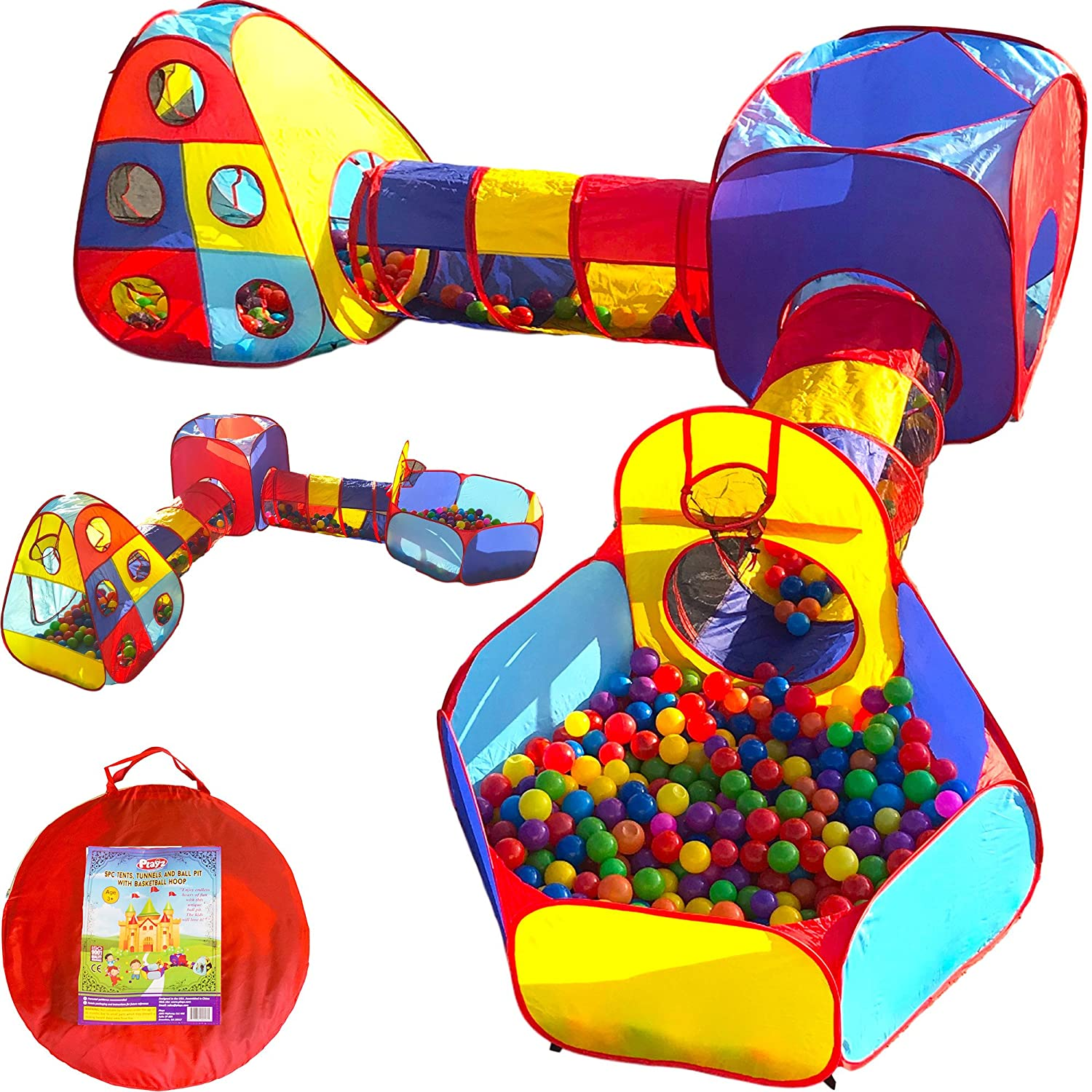 Playz 5pc Kids Playhouse Jungle Gym w/ Pop Up Tents, Tunnels, and Basketball Pit for Boys, Girls, Babies, and Toddlers with Zipper Storage Case for Indoor & Outdoor Use