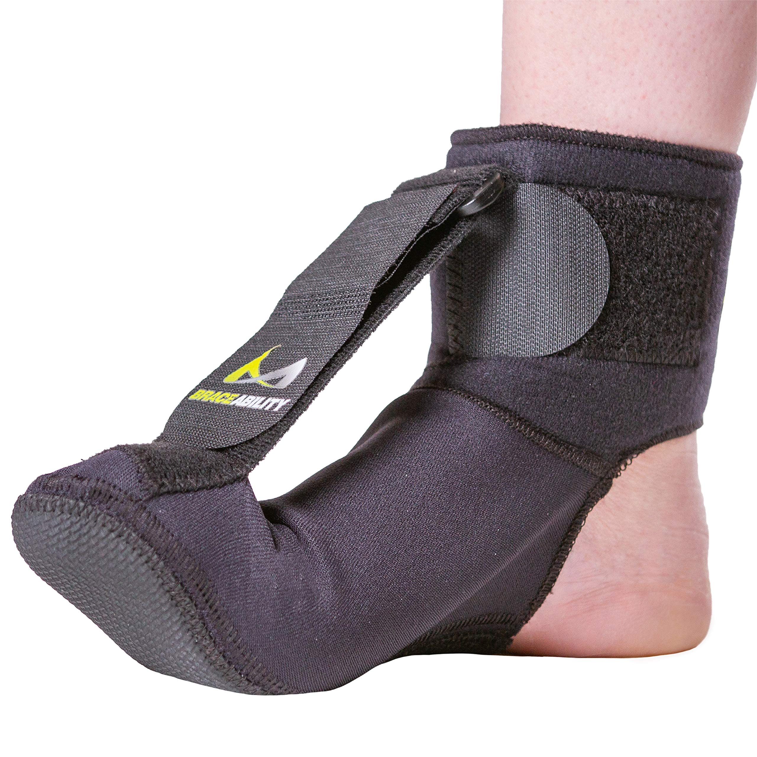 BraceAbility Plantar Fasciitis Night Sock | Soft Stretching Boot Splint for Sleeping, Achilles Tendonitis Foot Support Brace & Heel Pain Relief Compression Sleeve (Small)