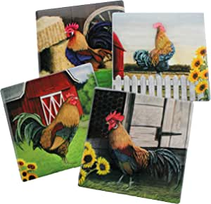 Scenic Rooster Farm Decorative Coasters | Decorative Ceramic Coaster with Cork Backing for Farm and Rooster Themed House Kitchen or Gift