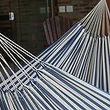 NOVICA Blue and White Striped Brazilian Outdoor