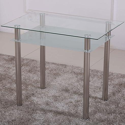 Esstisch 90X60 Küchentisch Esszimmer Tisch Chrom Speisetisch Klar