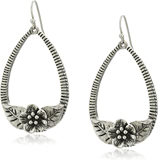 product image for 1928 Jewelry Silver-Tone Flower Teardrop Hoop Drop Earrings