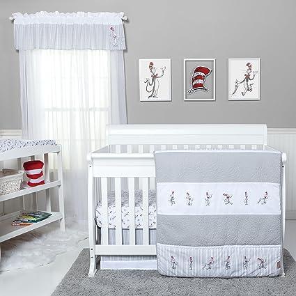 Juego de ropa de cama AE de 4 piezas para bebé, color blanco y gris ...