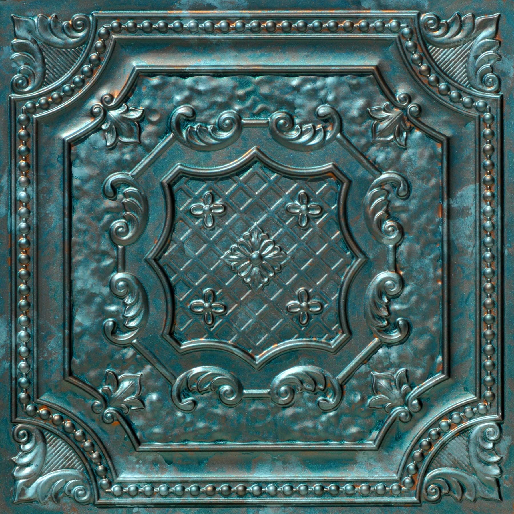 From Plain To Beautiful In Hours DCT04pa-24x24-25 Elizabethan Shield Ceiling Tile Patina 25