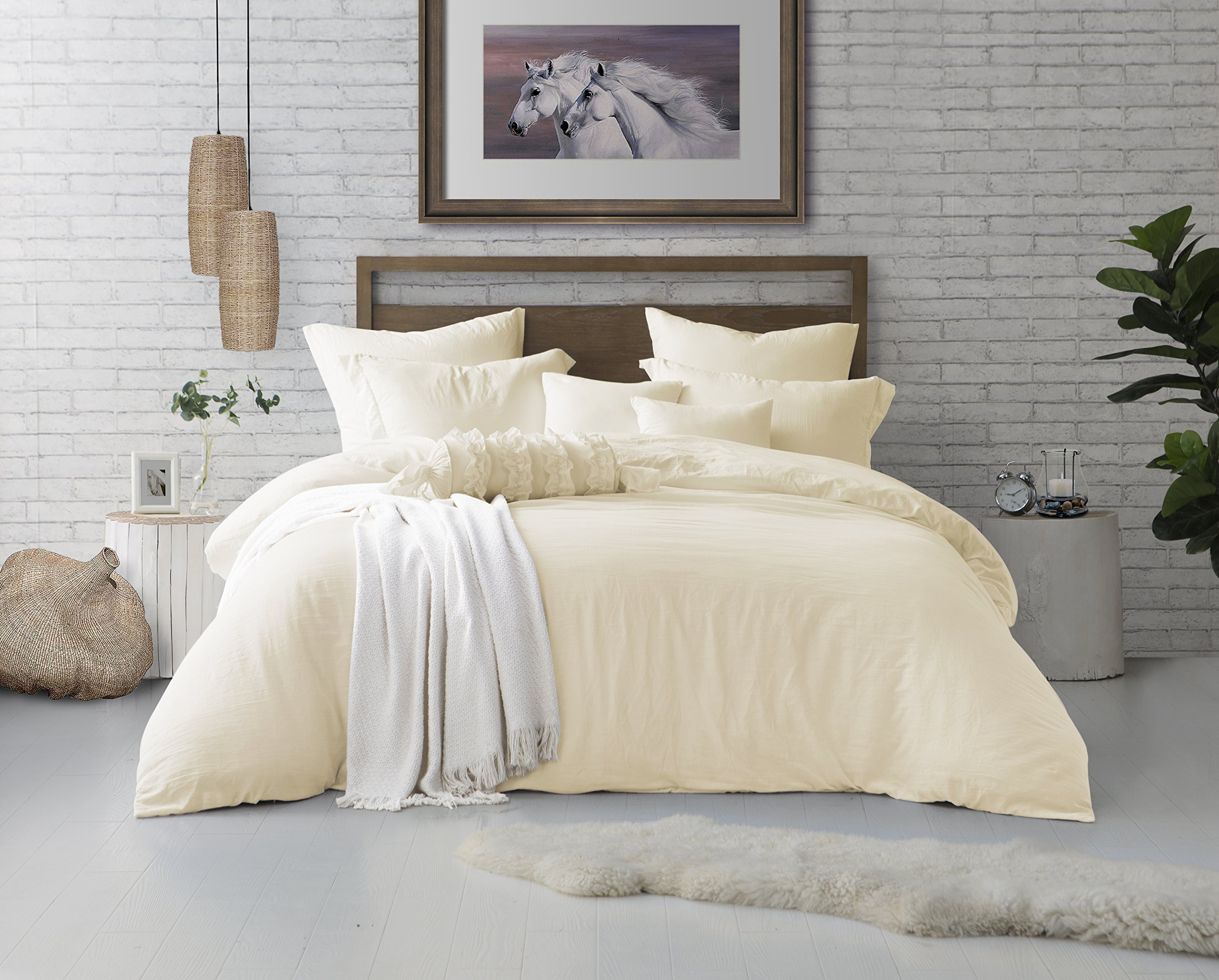 Swift Home Microfiber Washed Crinkle Duvet Cover & Sham (1 Duvet Cover with Zipper Closure & 2 Pillow Shams), Premium Hotel Quality Bed Set, Ultra-Soft & Hypoallergenic – King/Cal King, Sweet Cream