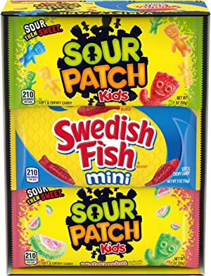 Sour Patch Kids & Swedish Fish Soft & Chewy Candy Variety Pack - 18 Individual Pack