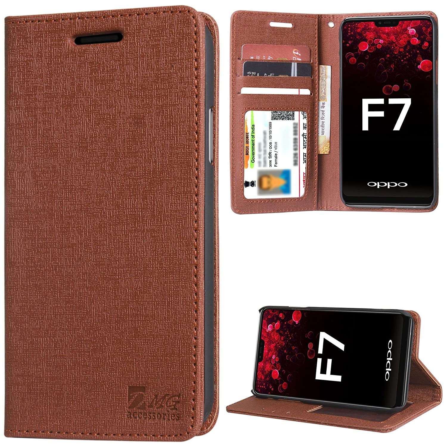 cheap for discount e36dc 22968 DMG Leather Flip Cover for Oppo F7, Wallet Flip Cover Stand Case for Oppo  F7 (Texture ID Brown)