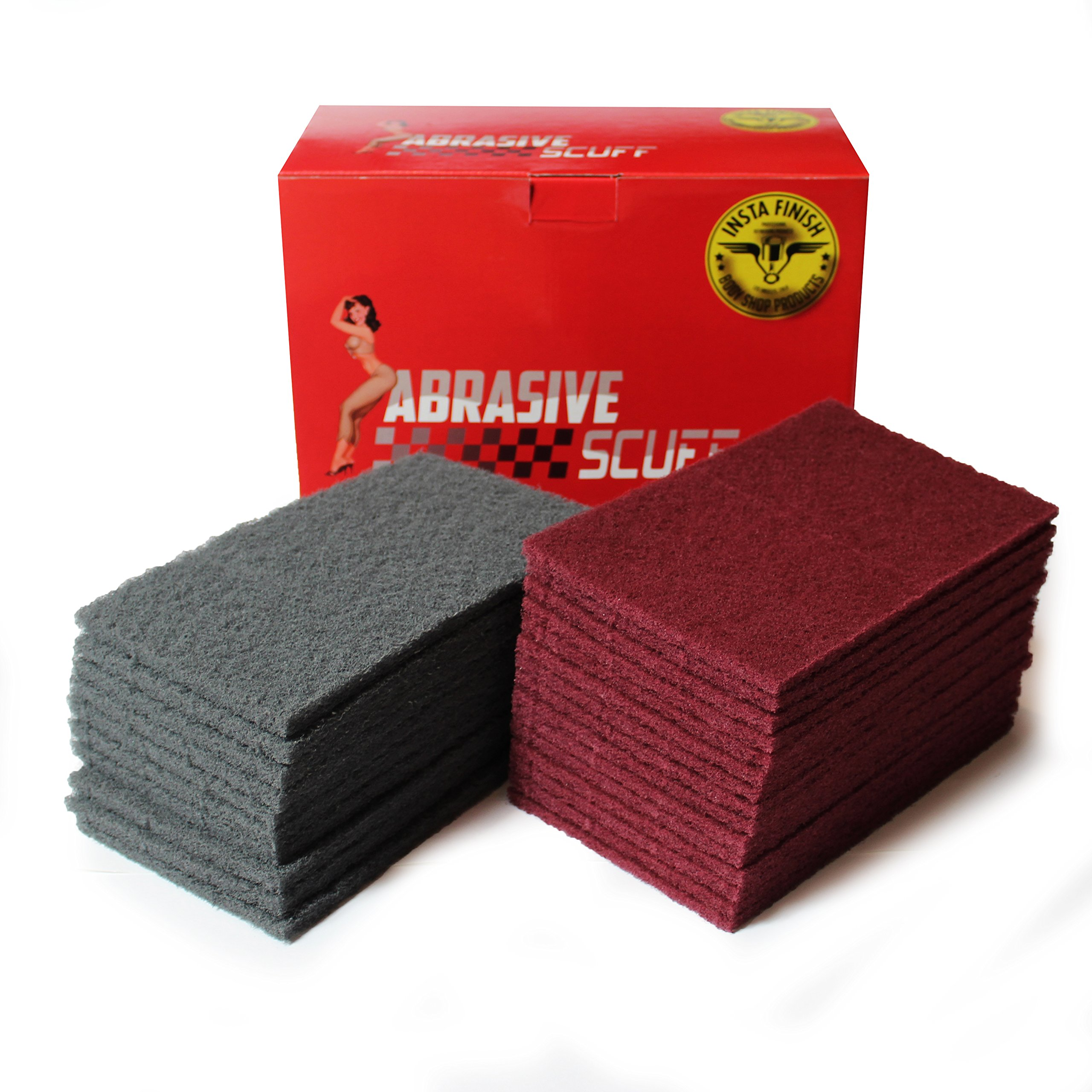 Insta Finish Rectangle Scuff Pads - 6''x9'' Size - 15 Maroon, 10 Gray (25 Pieces Total)