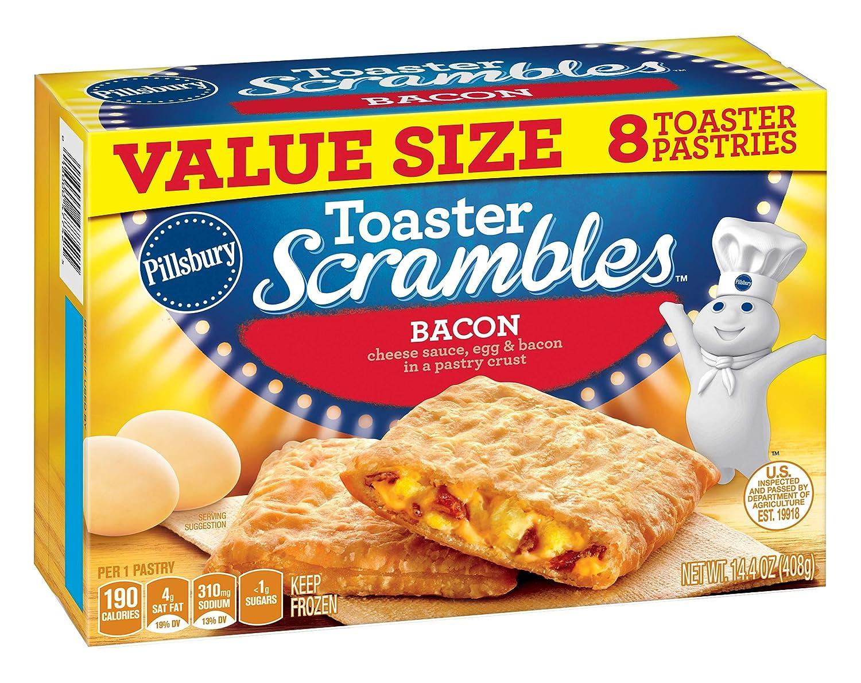 Pillsbury Toaster Scrambles, Bacon, Frozen Pastries, 8 ct, 14 oz