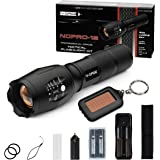 Tactical Flashlight Kit - Bright 1200 Lumens LED - N-GAGE NGPRO-12 including Two Rechargeable Lithium Ion Batteries, Rapid Charger, AAA Battery Holder and Belt Carrying Case and Solar Key Chain Light