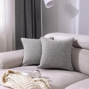 Alberta Oak - Set of 2 Decorative Throw Pillow Covers | Premium Cotton Linen | Cushion Covers for Sofa Couch Living Room Bedroom | 18x18 Inch 45cm | (Light Gray)