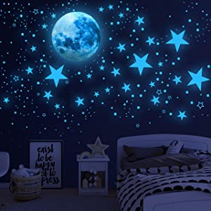 Glow in The Dark Stars for Ceiling,Glow in The Dark Stars and Moon Wall Decals, 1003 Pcs Ceiling Stars Glow in The Dark Kids Wall Decors, Perfect for Kids Nursery Bedroom Living Room(Sky Blue) (Sky Blue)