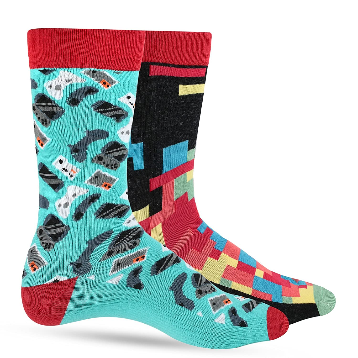 Crazy Socks For Men: Mens Funny Dress Socks: Novelty Crazy Cool & Funky Colorful Sock: Geek & Science