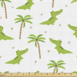Lunarable Alligator Fabric by The Yard, Cartoon Crocodiles with Tropic Palm Trees Nursery Design Composition, Decorative Fabric for Upholstery and Home Accents, 1 Yard, Lime Green