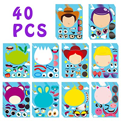 MALLMALL6 40Pcs Toy 4 Make a Face Stickers DIY Party Favors Games Toy 4th Themed Birthday Party Supplies Decorations Sticker Decals Woody Buzz Lightyear Bo Peep Fork Jessie Dress Up Crafts for Kids: Arts, Crafts & Sewing