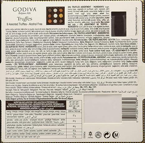 Godiva, Signature Truffles bombones trufas surtidas caja regalo 9 piezas, 125g: Amazon.es: Alimentación y bebidas