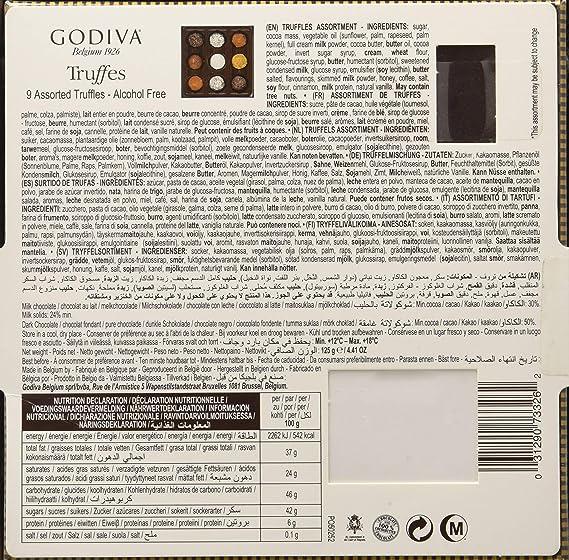 Godiva, Signature Truffles bombones trufas surtidas caja regalo 9 piezas, 125g