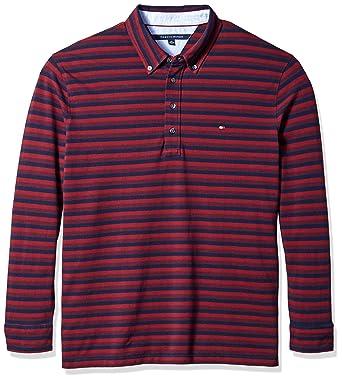 dc90c127 Tommy Hilfiger Men's Big & Tall Vanderbilt Long Sleeve Polo Shirt, Tawny  Port 4XL-