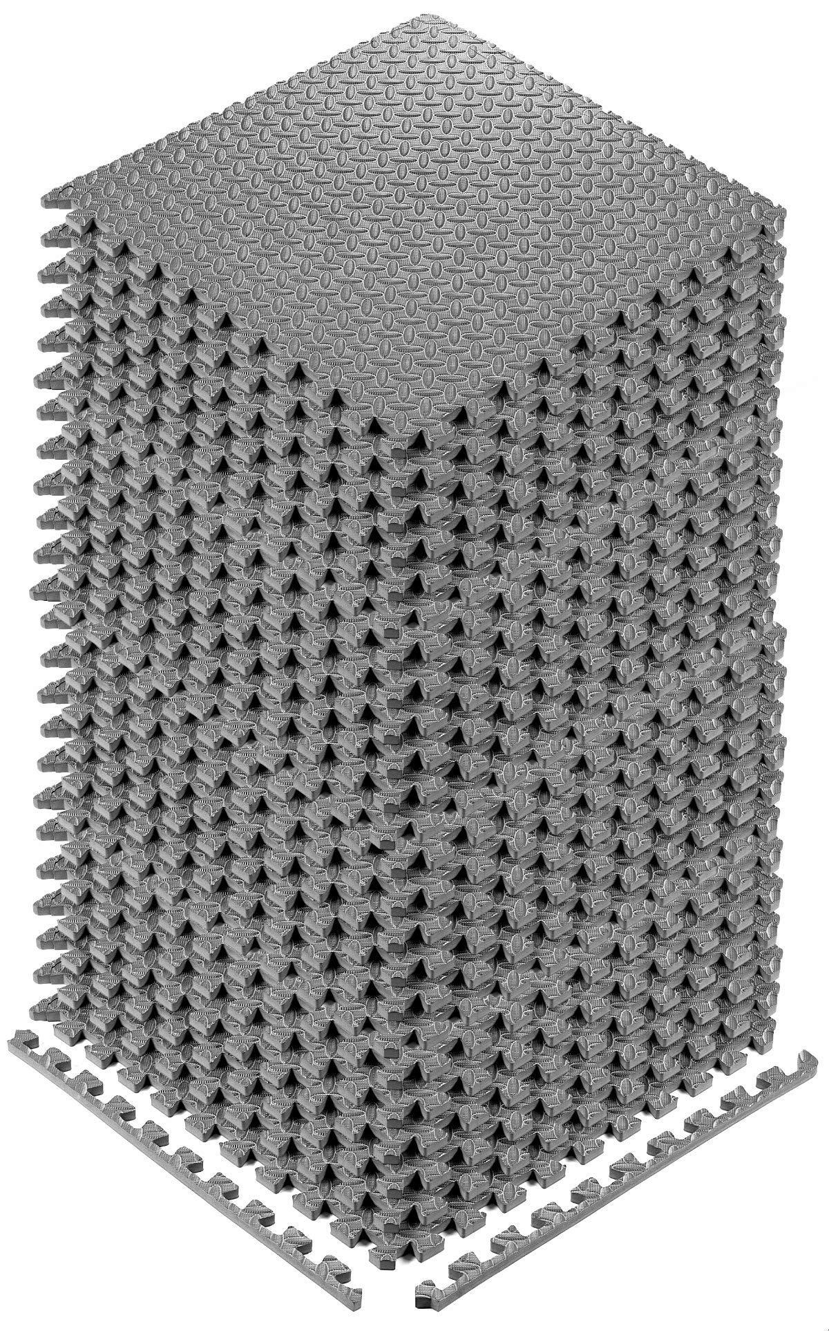YOGU Puzzle Exercise Floor Mat EVA Interlocking Foam Tiles 24 Tiles Covers 96 SQ Foot Exercise Equipment Mat Protective Flooring for Home Gym (Grey)