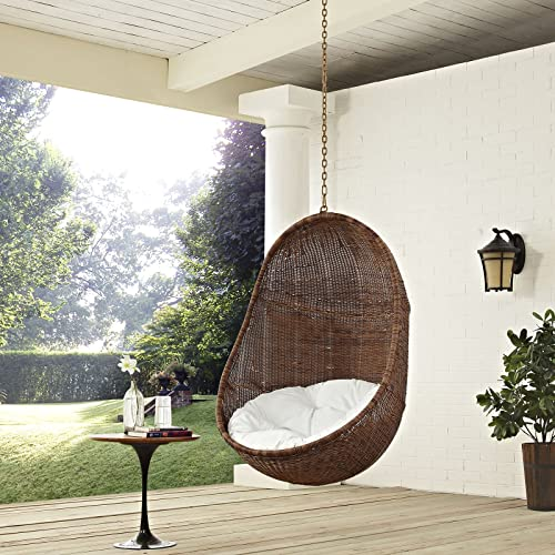 Modway EEI-2658-YLW-WHI-SET Bean Wicker Outdoor Patio Swing Chair Set with Hanging Steel Chain, Without Stand, Coffee White