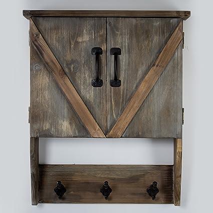 American Art Decor Farmhouse Wall Hanging Storage Cabinet U0026 Hooks