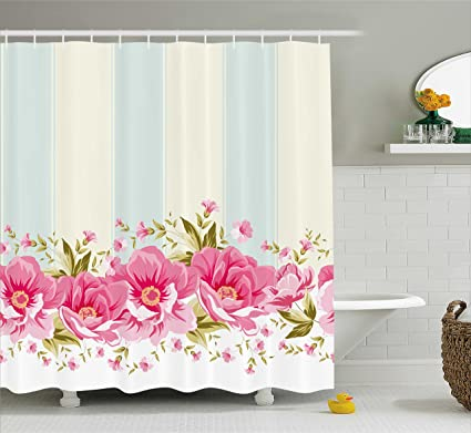 Amazon.com: Ambesonne Vintage Shower Curtain, Pink Peony Border on ...