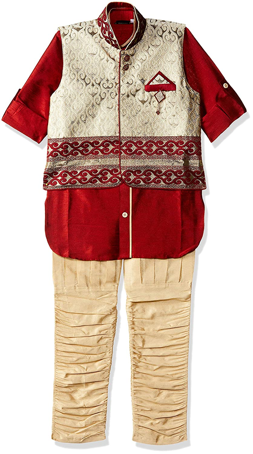 AJ Dezines Kids Indian Wear Bollywood Style Kurta Pyjama Waistcoat for Boys 636-$P