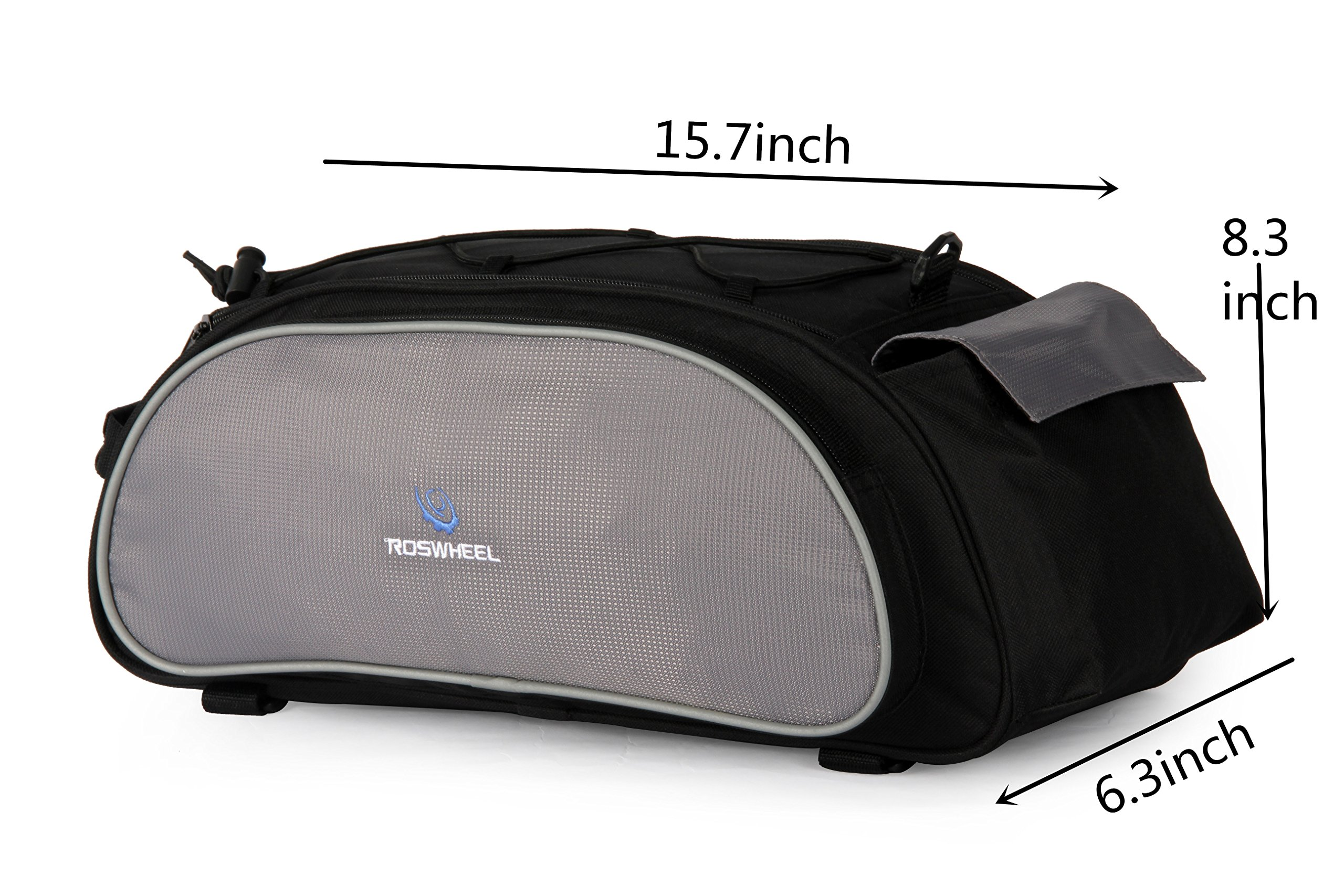 Best Fit For U Roswheel Bicycle Cycling Bike Saddle Rack Seat Cargo Bag Rear Pack Trunk Pannier Handbag Blue Outdoor Traveling New(Black) by SunbowStar (Image #4)
